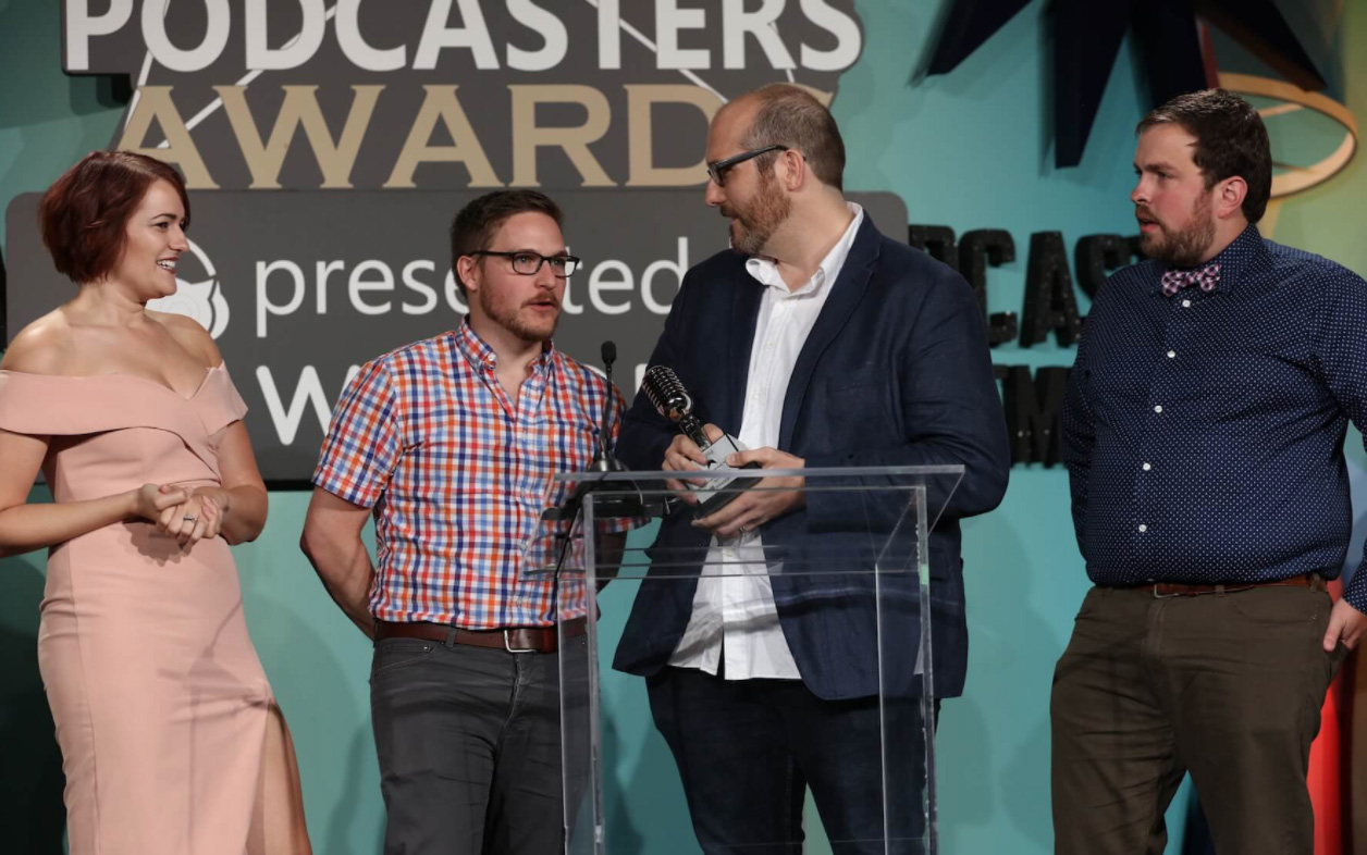 The hosts of Greetings, Adventurers! received The Academy of Podcasters Award for 2017 Best Gaming Podcast