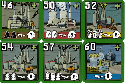 Power Plant cards-  top left number is the minimum opening bid allowed during the auction phase, bottom left shows the type and number of resources used, and the house on bottom right shows how many cities this plant can supply with power.
