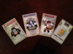 Left to Right: Monster the Beer Bear; Realm Independent Olivencia; Hero Warrior; Treasure Tank