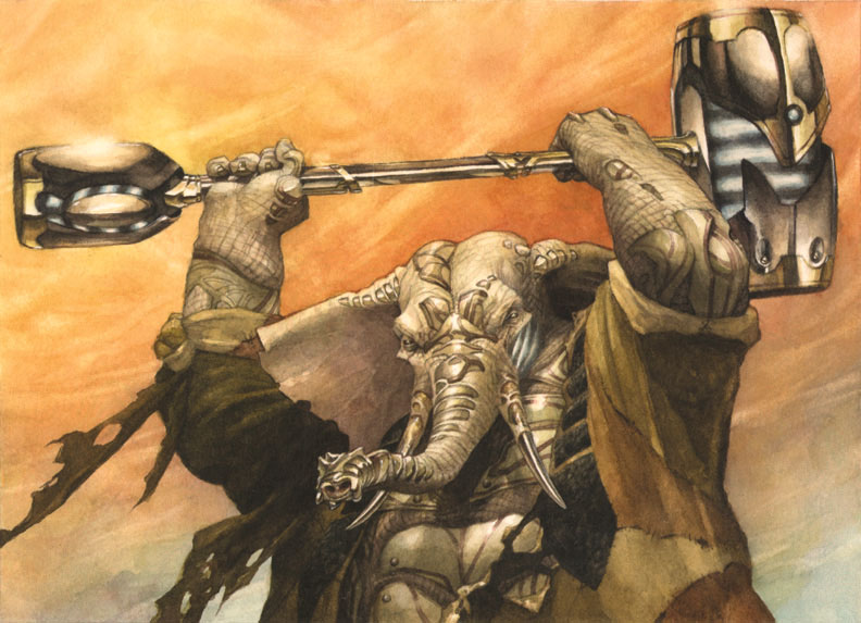 Loxodon Warhammer art by Jeremy Jarvis