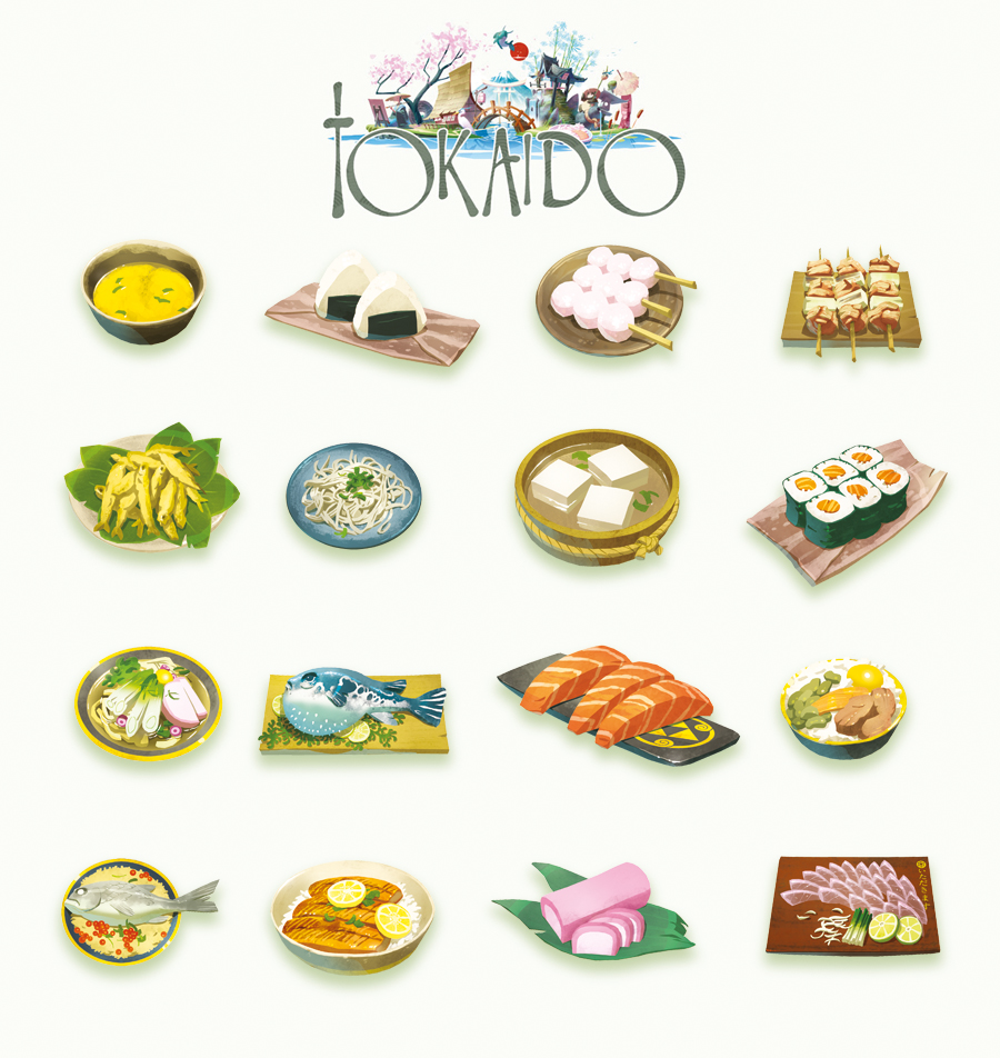 Pictured: Art from Tokaido's meal cards. Each individual card shows one entree.