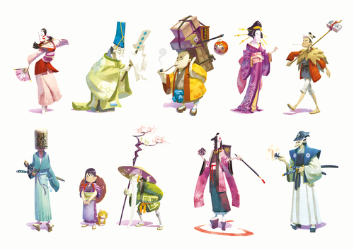 Pictured: Tokaido's characters. Naiade's artwork is phenomenal, as you can see.