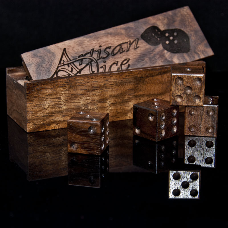 One of Charlie's favorite set of dice, made from gunstock grade English Walnut