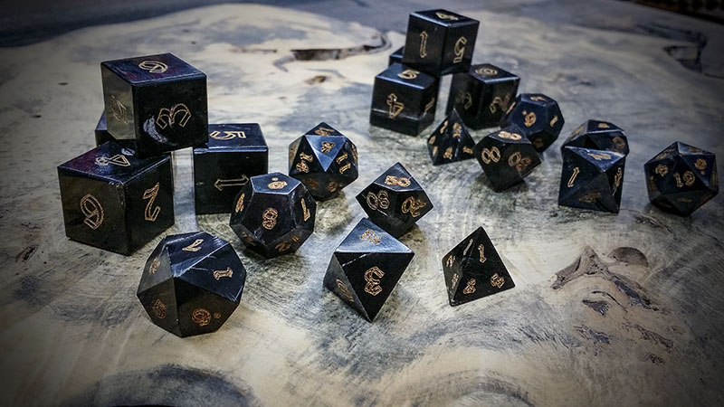 They might smell terrible when they're being made but these buffalo horn dice are gorgeous when finished