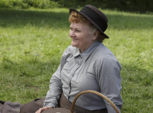 Downton Abbey Part Seven - Sunday, February 14, 2016 at 9pm ET on MASTERPIECE on PBS A car race gives Mary flashbacks. Mrs. Patmore opens for business. Mrs. Hughes tricks Carson. Things get serious for Edith. Robert gets a surprise gift. Shown: Lesley Nicol as Mrs. Patmore (C) Nick Briggs/Carnival Film & Television Limited 2015 for MASTERPIECE This image may be used only in the direct promotion of MASTERPIECE CLASSIC. No other rights are granted. All rights are reserved. Editorial use only. USE ON THIRD PARTY SITES SUCH AS FACEBOOK AND TWITTER IS NOT ALLOWED.