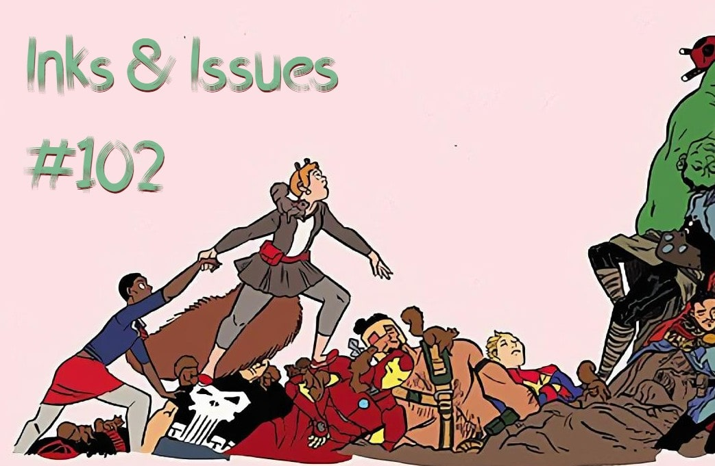 Header image for Inks & Issues showing Squirel girl on a mountain of fallen heroes
